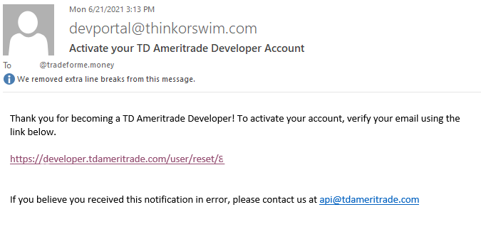 TD Ameritrade Developer email