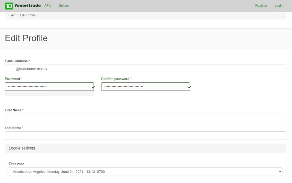 TD Ameritrade Developer profile page